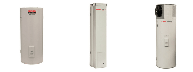 3 Rinnai Rinnai hot water storage systems including gas, electric storage systems and heat pump