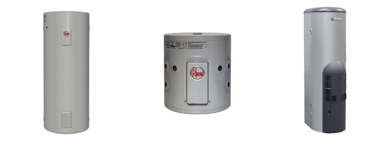3 images of Rheem hot water storage systems - gas or electric storage systems and heat pumps.
